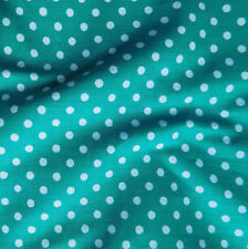 Polka dot fabric by the METRE Green aqua Vintage material cotton mix 140 cm wide