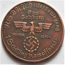WW2 ADOLF HITLER GERMAN EXONUMIA 1 SCHILLING COIN   BRONZED nice