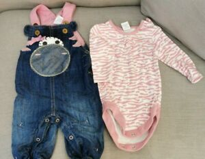 Baby Girls Dungaree Baby grow Outfit Set Cow Print Denim Next Up To 3 Months
