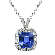 "6mm Cushion Cut Sapphire Birth Gem stone Silver Halo Pendant Necklace 18"" Chain"