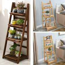 Foldable Ladder Bookshelf Plant Pot Shelf Stand Garden Flower Display Rack Wood