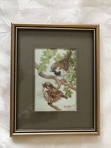 VINTAGE FRAME AND GLAZE CASH'S WOVEN SILK PICTURE - HOUSE SPARROW