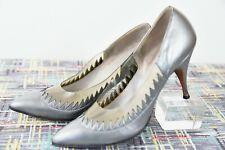 Wikked 50s ~ Gray Sawtooth Leather Stilettos ~ Clear Plastic ~Vtg Joseph ~8 Vlv