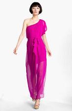 NEW ABI FERRIN 'Dolce' Sheer One Shoulder Silk Maxi DRESS SIZE L 12-14 $358