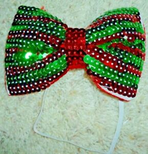 NEW Fun Christmas Bow Tie Colorful Red & Green Sequins w Elastic Neck Band
