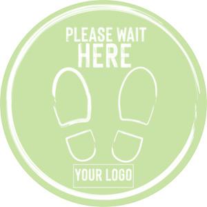 Social Distancing Floor Sticker/Decals - Anti Slip, Custom Logo, Wait Here