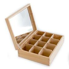 Wooden 12 Compartments Box with Mirror | Trinket Keepsake Accessories Holder DIY