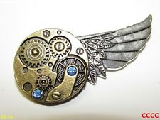 steampunk brooch badge right silver wing bronze mechanical clockwork gearwheel