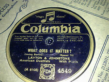 LAYTON AND JOHNSTONE WHAT DOES IT MATTER & AT SUNDOWN COLUMBIA 4549
