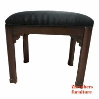 Vintage Mahogany Pencil Carved Chippendale Foot Stool Ottoman Vanity Seat A