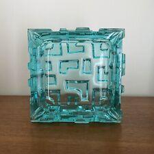 Vintage 1968 SKLO Rosice Glassworks JIRI BRABEC Turquoise URANIUM Glass ASHTRAY