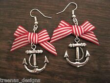 *RED ANCHOR BOW* Earrings ROCKABILLY SAILOR NAUTICAL