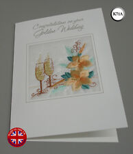50 years Ekard Embroidered Golden Wedding Anniversary Card Handmade in UK K71A