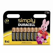 8 x SIMPLY DURACELL AA MN1500 LR6 Batteries 1.5V ALKALINE for Toys and Cameras