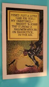 Rare vintage National Art Halloween Postcard Of Flying Witch And Bats