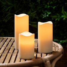 Set Of 3 Battery Operated Outdoor LED Candles, Garden & Patio Lights With Timer