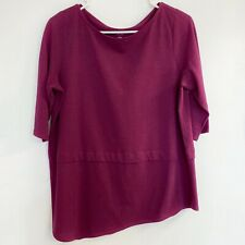 Purejill Womens Small Petite PJ Boat Neck Asymmetrical Hem Maroon Top .