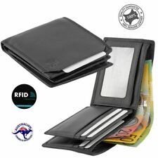 Mens Leather Wallet RFID Blocking Bifold Anti Theft Security Genuine Leather-New