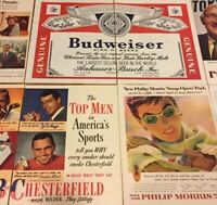 Vintage Cigarette And Beer Print Ads Lot Of 8 Retro Magazine Tabaco 1964 Etc PR6