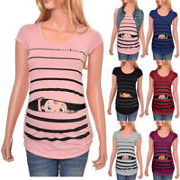 Maternity Funny Baby Print Striped Short Sleeve T-shirt Pregnant Top Blouse Tee