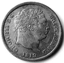 More details for 1819 george iii shilling vf-ef silver coin