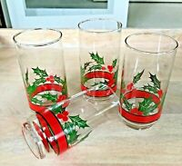 Libbey HOLLY & BERRIES - Set of 4 TUMBLERS GLASSES - VTG. Holiday Barware MINT