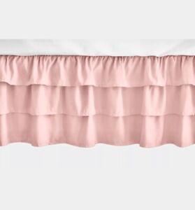 Sweet Jojo Light Pink Ruffled Tiered Baby Girl Crib Bed Skirt Dust Ruffle