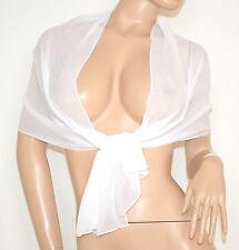 STOLA donna BIANCA foulard elegante tinta unita coprispalle abito sera 1050