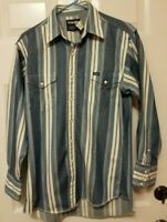 Vintage Wrangler Western Rodeo Shirt Size M 15 1/2-33 Pearl Snap Denim X Long