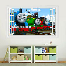 3D Windows Vinyl Thomas Friends Train Bule Sky Smile Wall Decal Decor Sticker