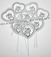 12 PC 25 YEARS ANNIVERSARY PLASTIC PICS CAKE TOPPERS PARTY FAVORS SILVER DIY