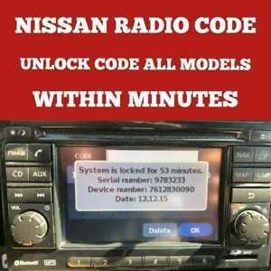 NISSAN RADIO CODE Qashqai - Juke- Micra - Almera - Note - Navara WITHIN MINUTES!