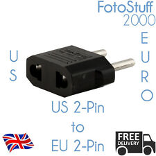 US to EU European AC Power Wall Plug 2-pin Socket Travel Adapter Converter