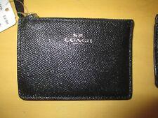 Coach Leather Glitter Mini ID SKINNY Wallet Key Coin Case F11836 Black new