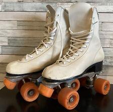 New listing Vtg Roller Derby White Roller Skates Women's Size 9 Urethane 28 Orange Wheels