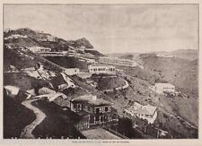 Hongkong/Hotels+Villen a.d. Peak/Pik. Holzstich erschienen im Jahr 1896