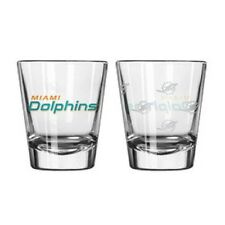 Miami Dolphins Satin Etch Shot Glass - 2 Pack [NEW] NFL Drink Bar Cup Beer