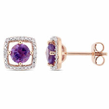 AMOUR 10k Rose Gold Morganite and Diamond Halo Stud Earrings
