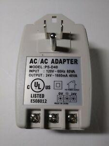 PS-D40 Plug-In AC/AC Adaptor 24VAC 40VA Power Supply Transformer