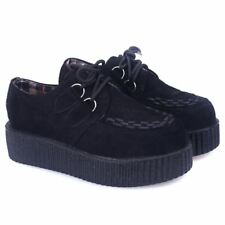 US6 BLACK Casual Women Creepers Platform Shoes Floral Lace up Thick Soles