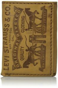 Levi's Men's Premium Leather Credit Card Id Wallet Trifold Cognac 31LV1179