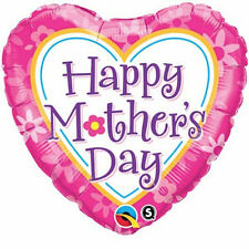 """MOTHER'S DAY PARTY SUPPLIES 18"""" DAISIES & HEARTS QUALATEX HEART SHAPED BALLOON"""