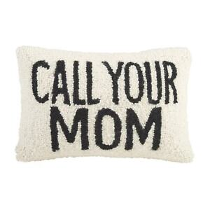 Call Your Mom Throw Pillow - Black and White Hand Hooked Accent Pillow