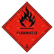 Flammable 3 Hazard Warning Labels Stickers COSHH PPE