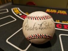 Babe Ruth / Ty Cobb / Lou Gehrig Red & Black Stitched Signed Reprint Baseball