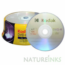 50 Genuine Kodak Branded Blank DVD-R 16x 4.7GB 120 mins DVD Discs Cakebox