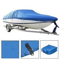 17-19ft 210D V-Hull Outdoor Waterproof Boat Cover  with Storage Bag Blue