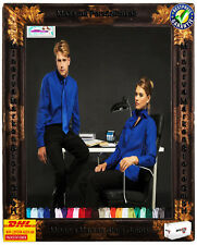 Pflegeleichte Damen Bluse 24 Farben Langarm Business Freizeit 34-54 Baumwolle