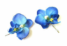2 x Blue Orchid Flower Hair Grips Clips Bridesmaid Bobby Pins Slides 1950s 2102