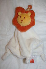 ORCHESTRA DOUDOU LION ORANGE BLANC ECRU JAUNE ORANGE CRINIERE BRUIT PAPIER TBE